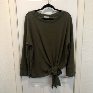 White Birch Thermal XL Side Tie Top Olive NWOT